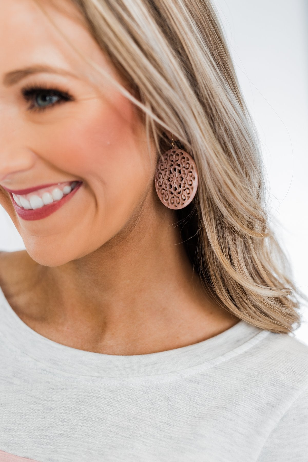Fine Filigree Earrings- Smokey Pink