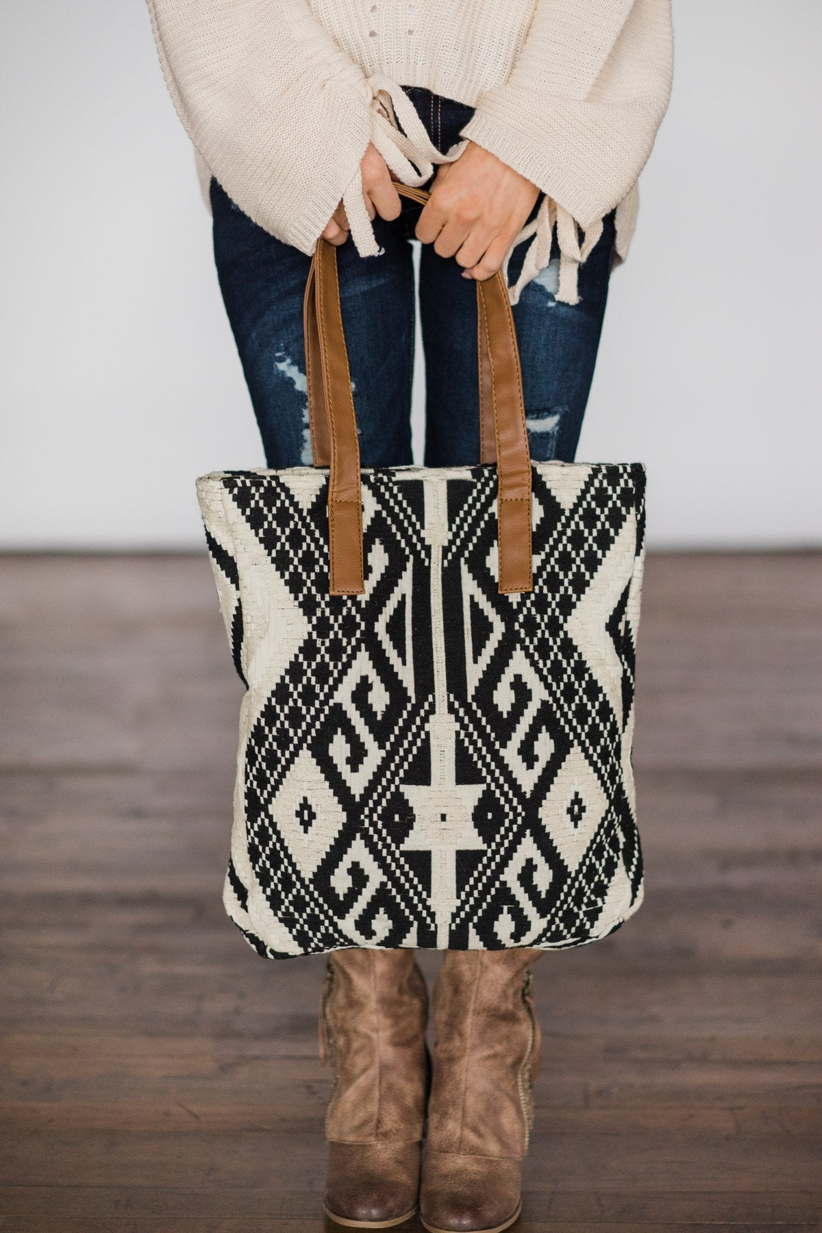 Cream & Black Aztec Tote