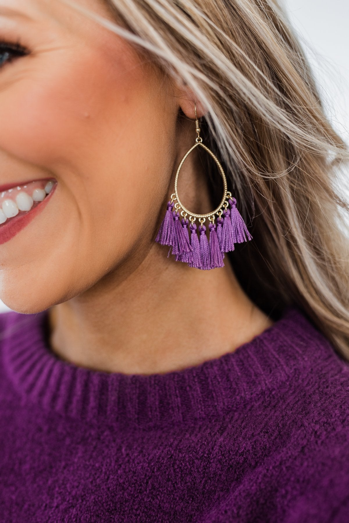 Gold Tear Drop & Tassel Earrings- Purple