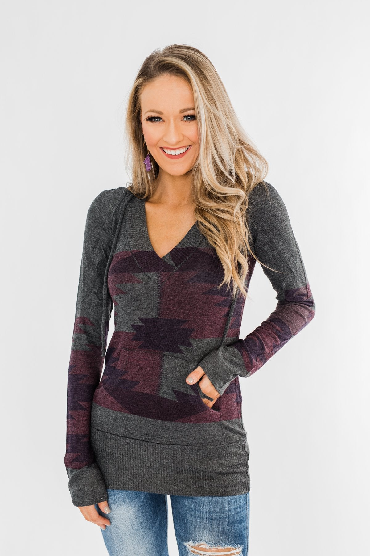 Aztec Knit Hoodie- Charcoal & Purple