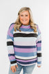 Frosted Mornings Striped Pullover Top- Blue & Purple