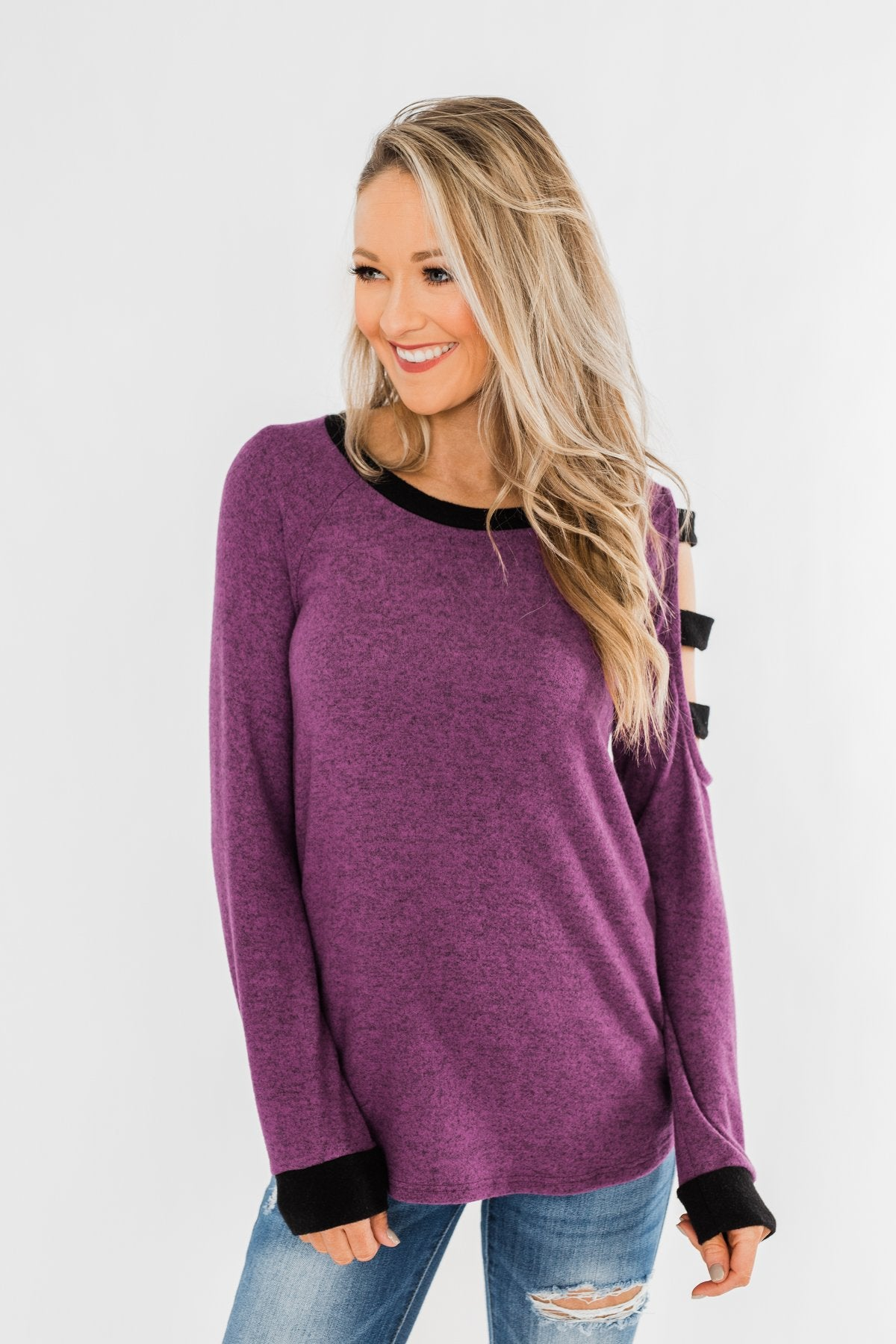 Chasing Dreams Cold Shoulder Top- Plum