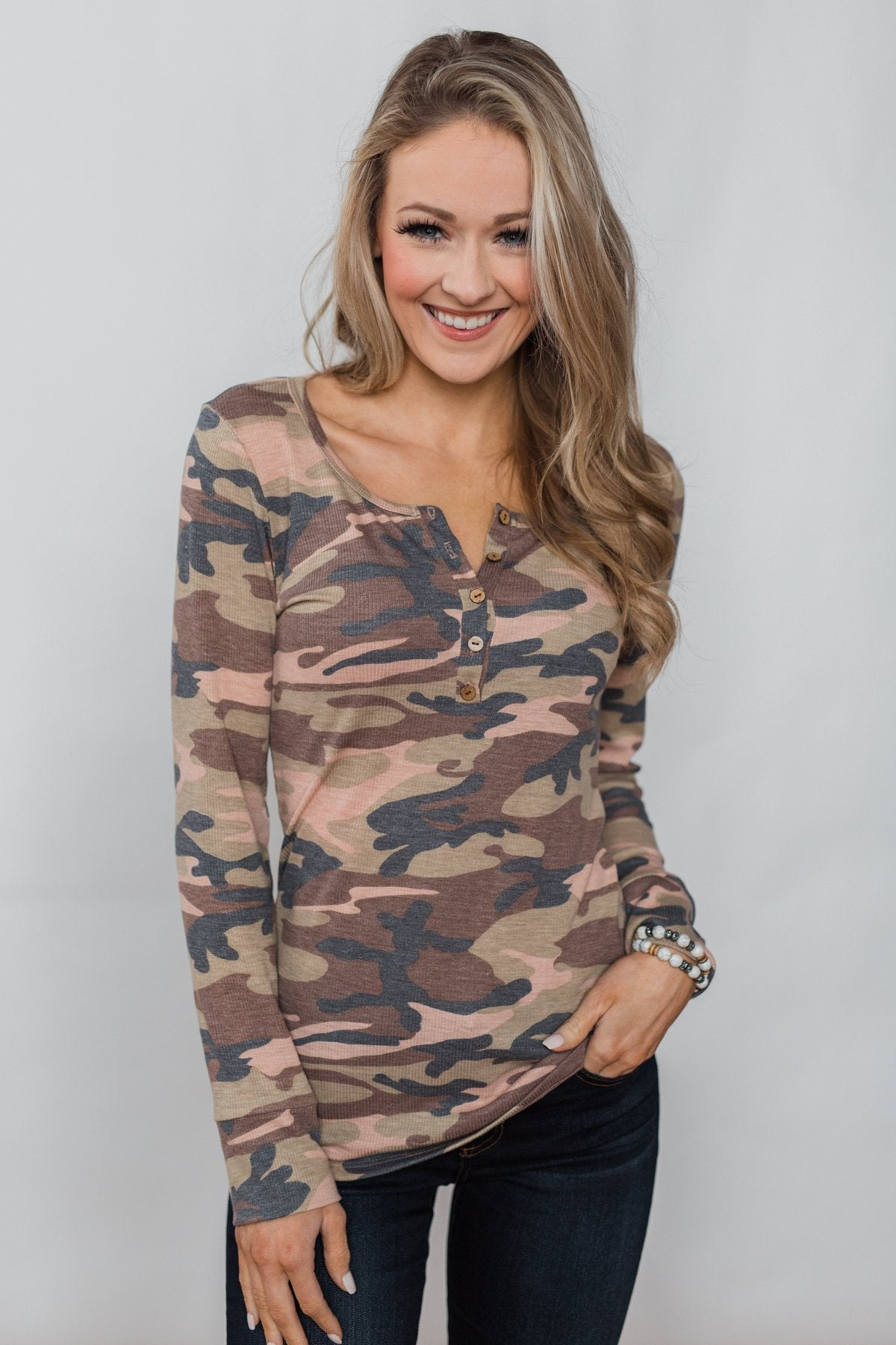Covered in Camo 5-Button Henley Top