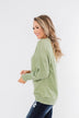 Another Day Long Sleeve Knit Sweater- Soft Green