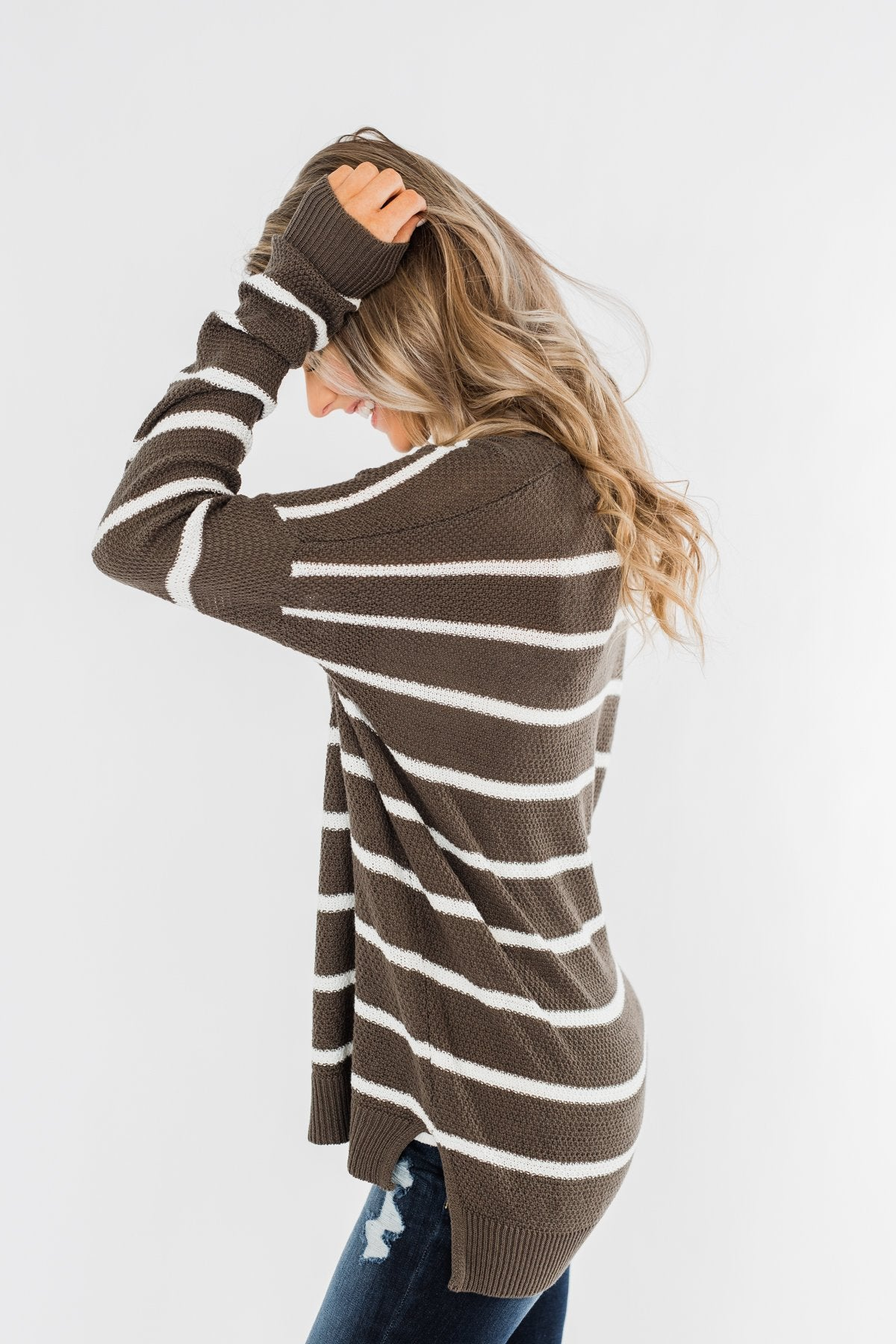 No Such Thing Striped Sweater- Charcoal Green