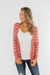 Everyday Striped Button Cardigan- Dusty Rose & Ivory