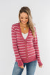 Everyday Striped Button Cardigan- Raspberry Pink