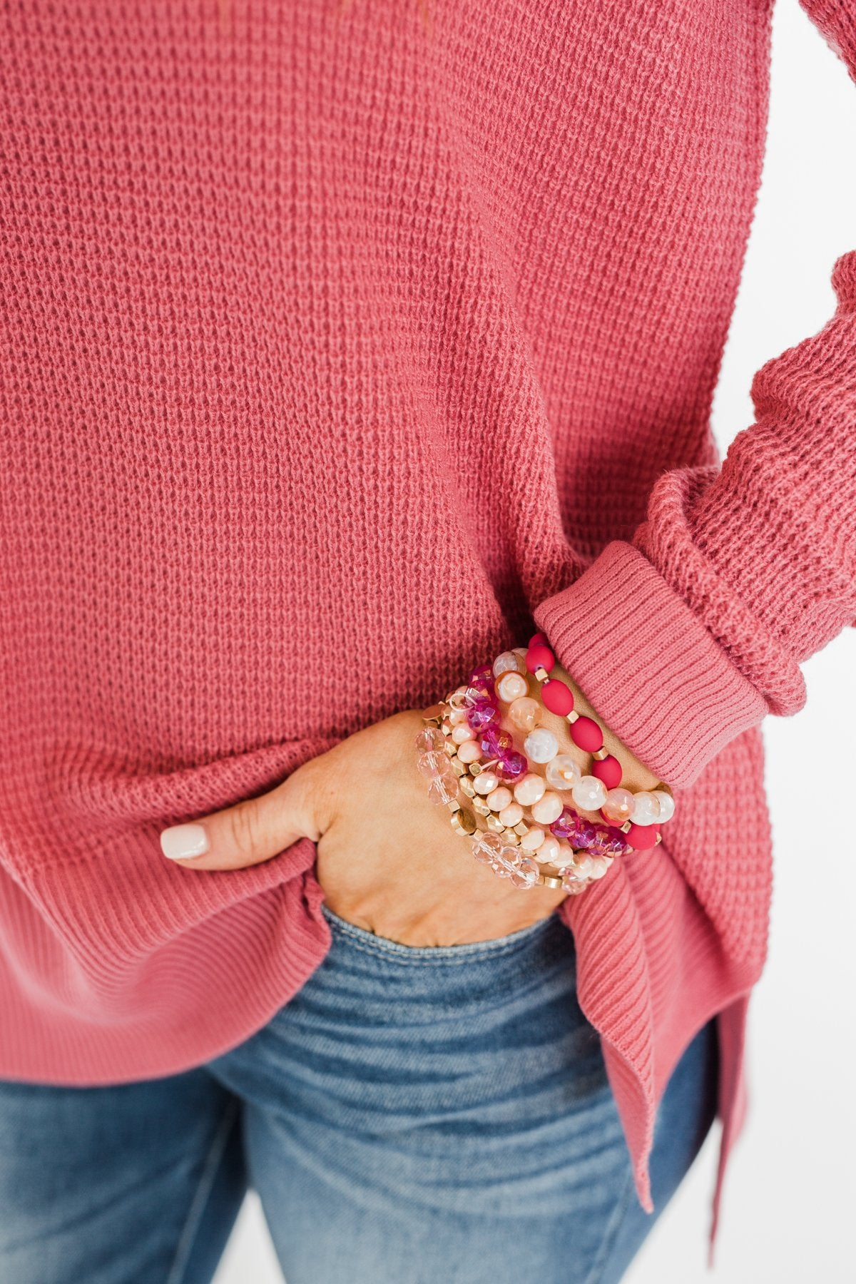 6 Layer Stackable Bracelet Set- Pink & Gold