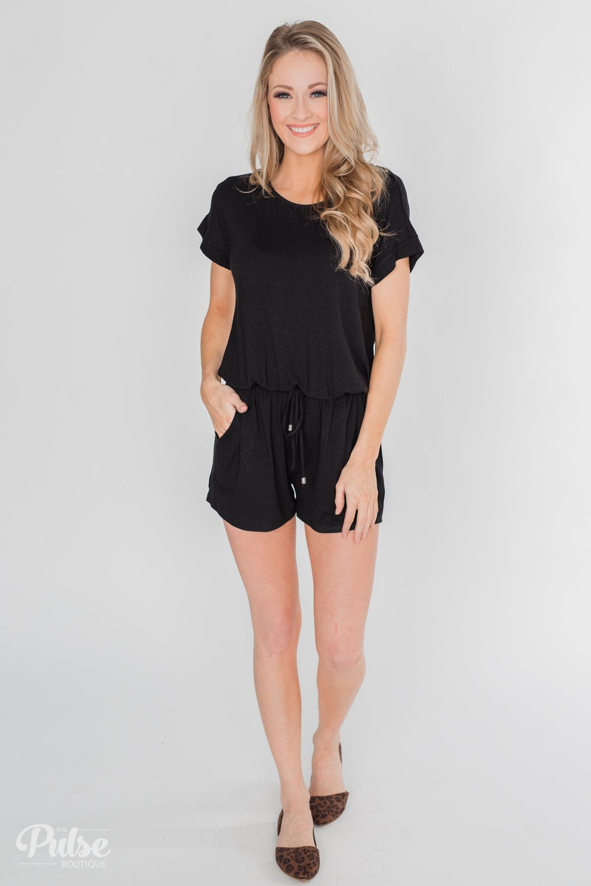 f58a7eb2941a Short Sleeve Drawstring Romper- Black – The Pulse Boutique