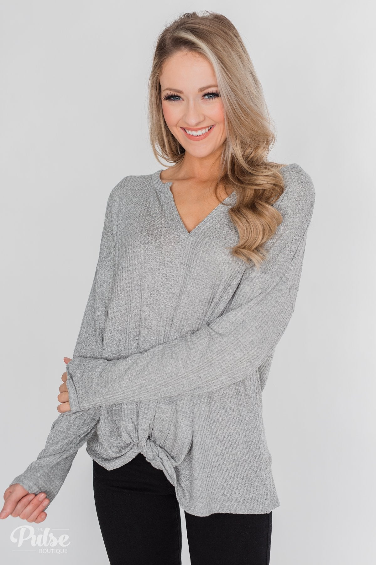 Twist a Little Closer Thermal Top - Heather Grey