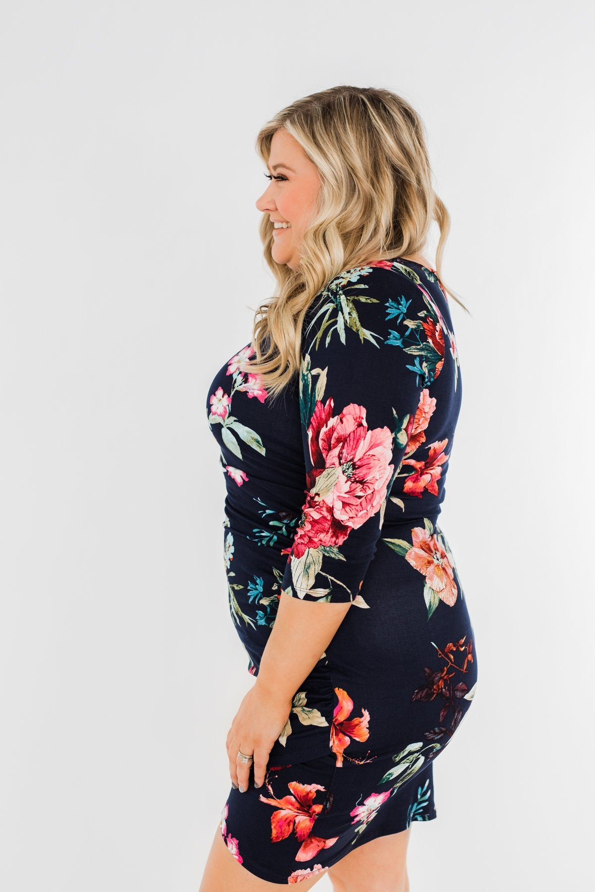 Captivating In Floral Dress- Navy