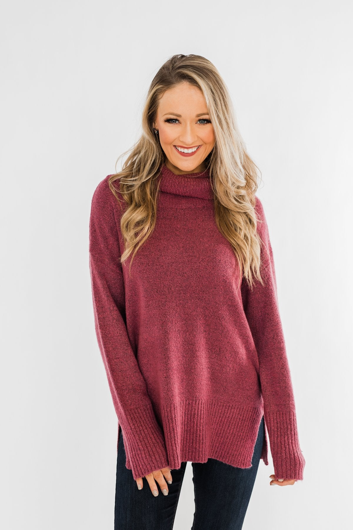 Counting Every Blessing Sweater- Dark Mauve Purple
