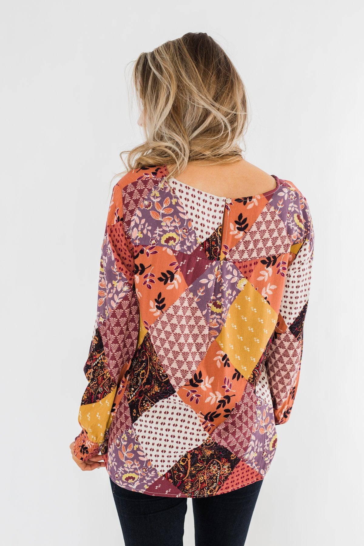 Stay Forever Printed Blouse- Purple Tones