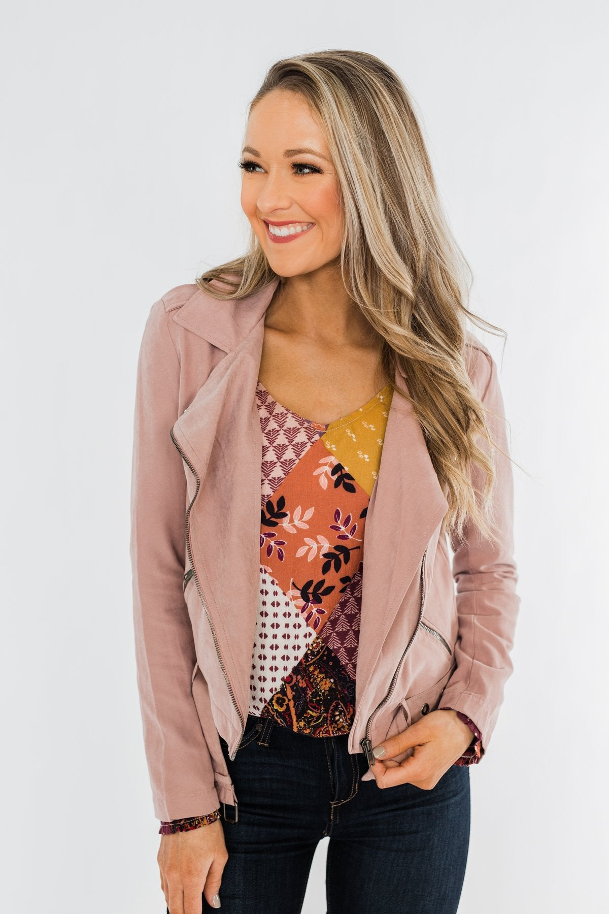 Lost In Your Eyes Lightweight Jacket- Light Dusty Mauve