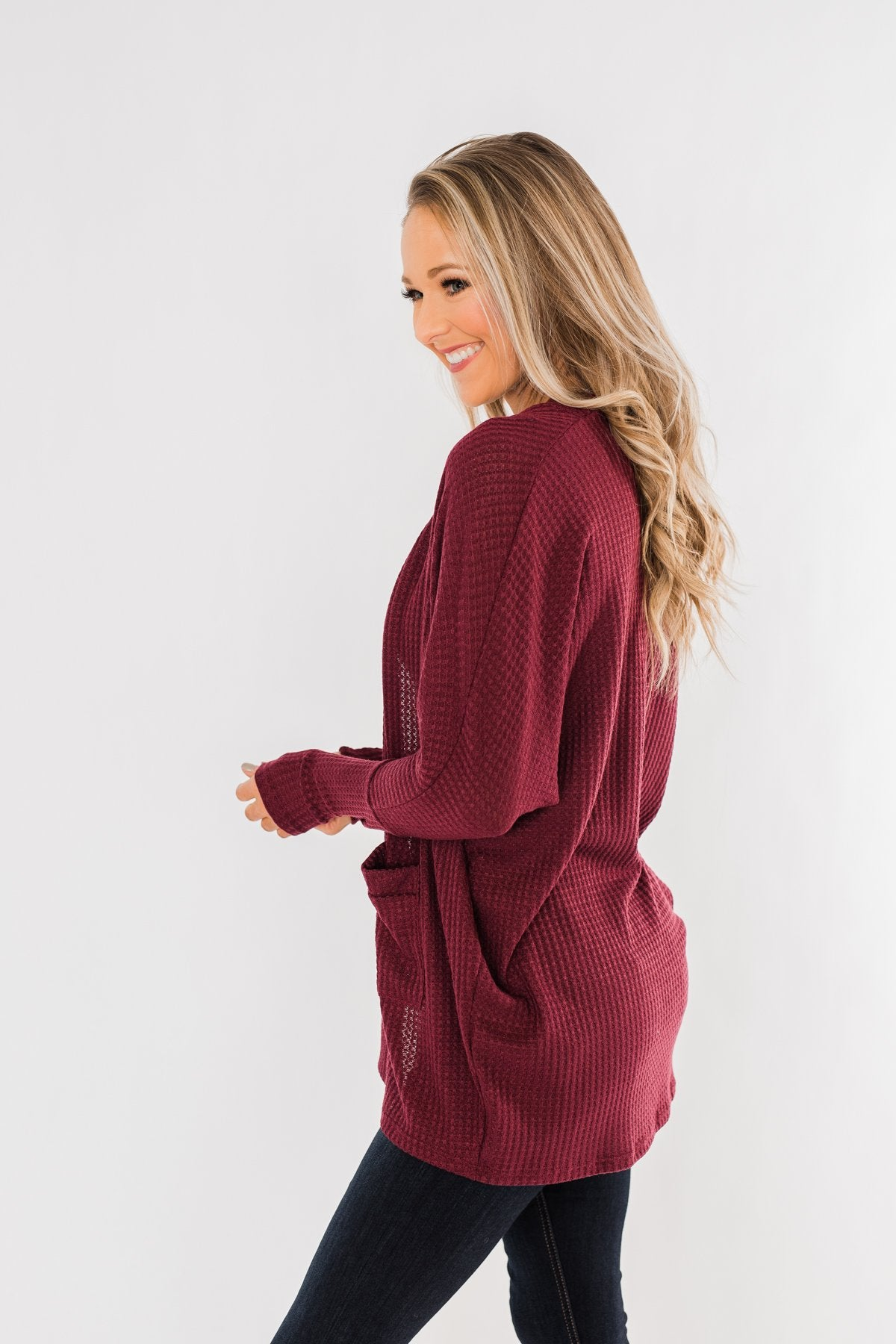 Break Free Waffle Knit Cardigan- Burgundy