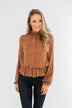 Life Is Good Leopard Cinched Blouse- Brown