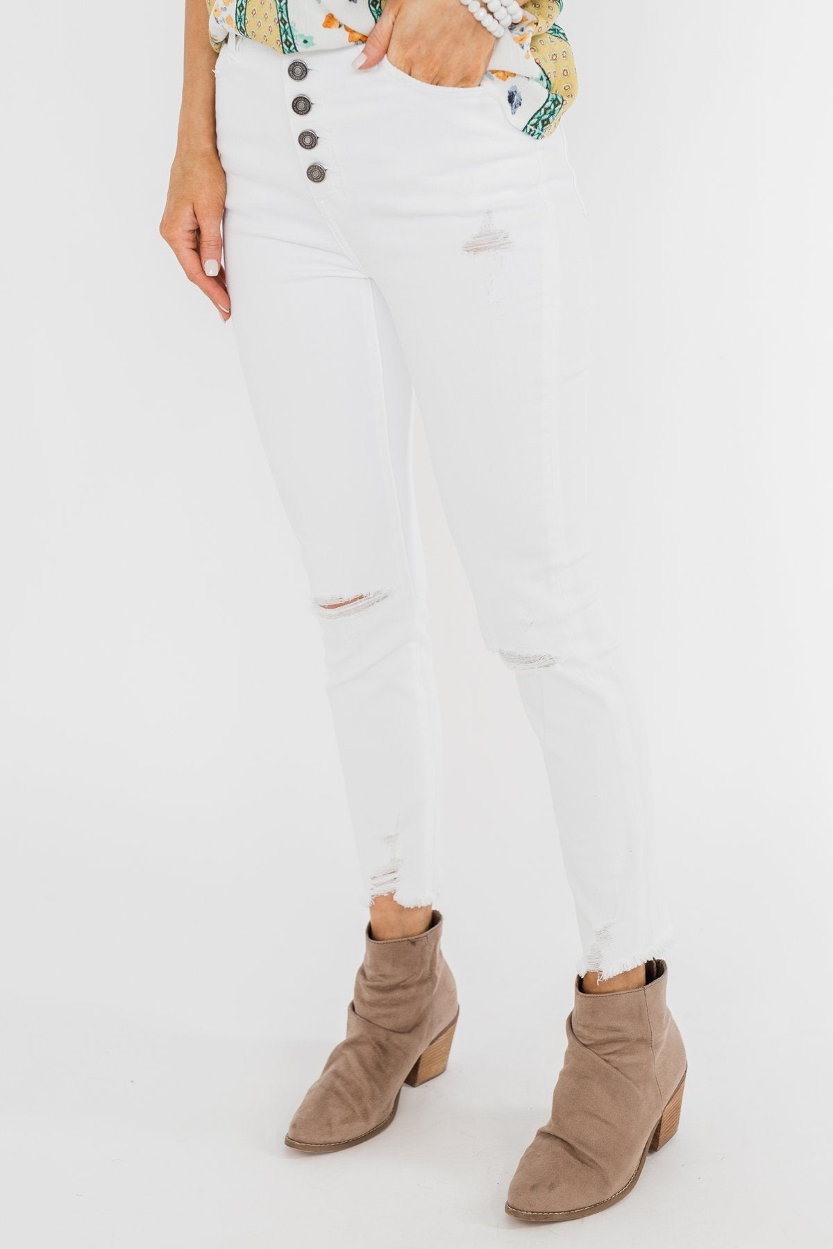 KanCan Raw Hem Distressed Jeans- Carly Wash