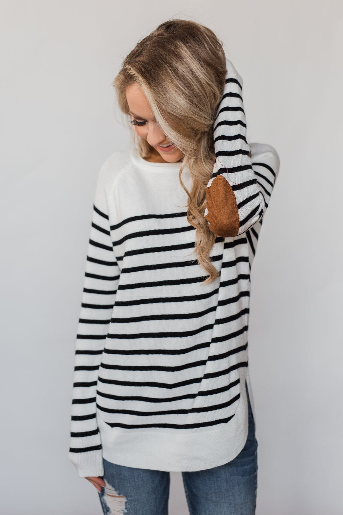 Cozy in Stripes Elbow Patch Sweater - Black & White