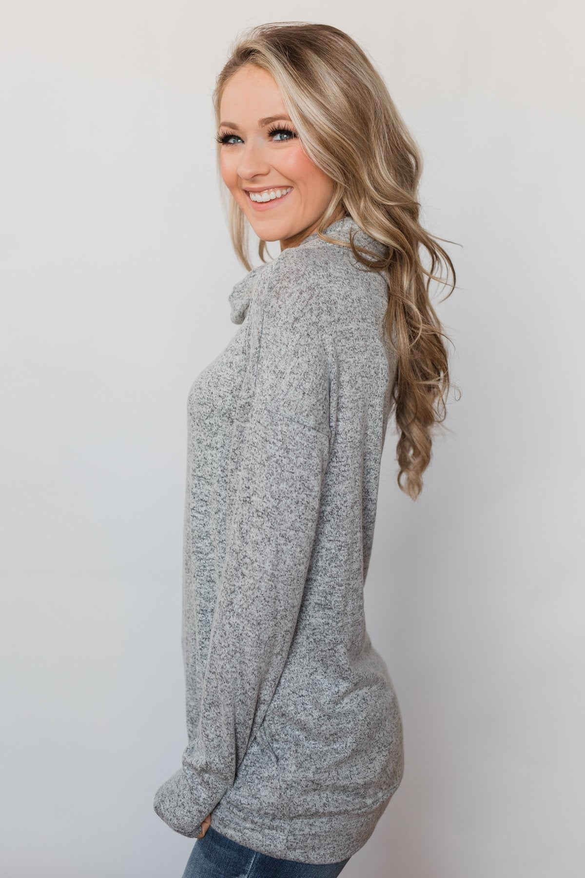 Bad At Love Cowl Neck Top- Heather Grey