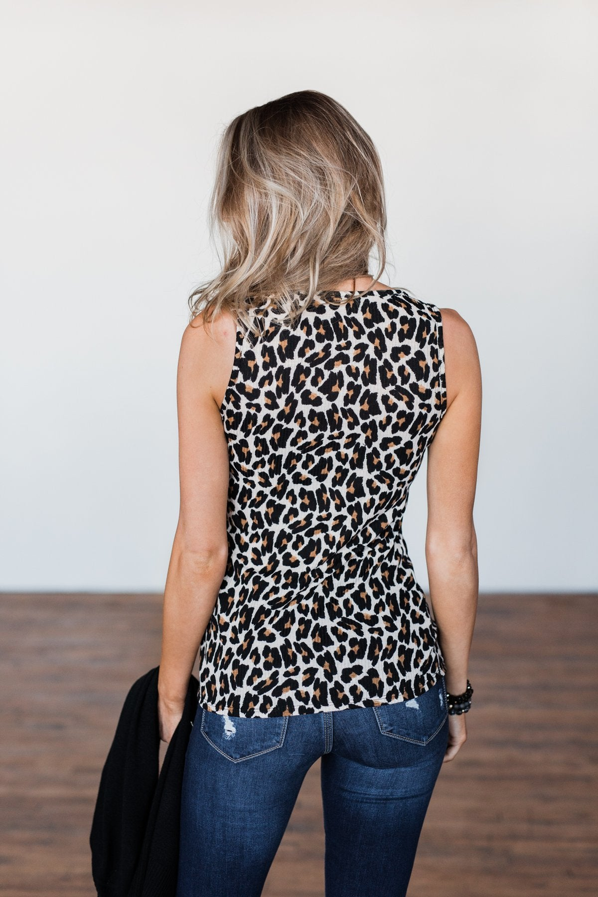 Zipper Henley Tank Top- Neutral Leopard