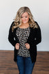 Light Weight Open Front Cardigan- Black