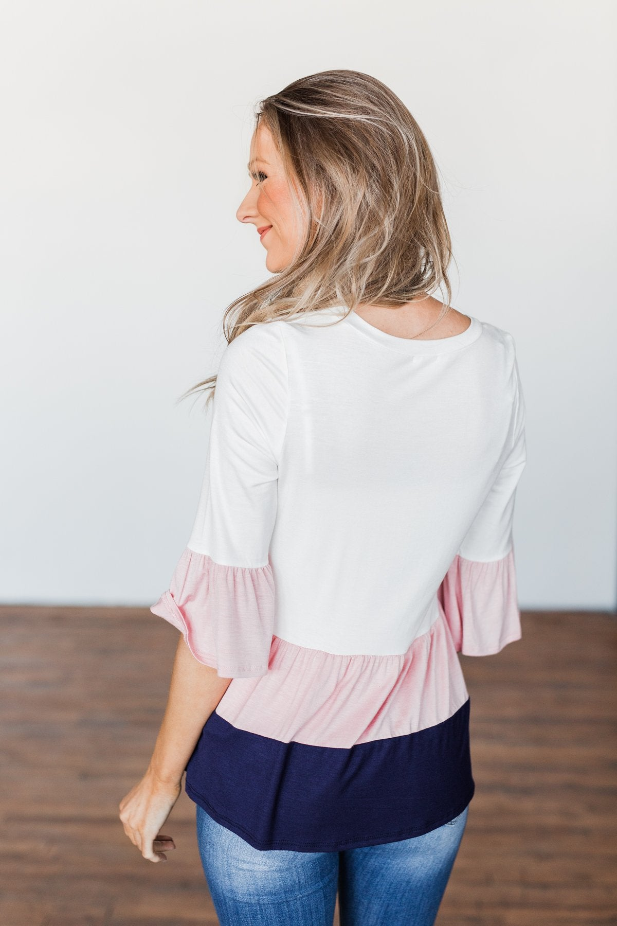 Believe In Magic Ruffle Top- Ivory, Blush, & Navy