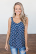 Navy & White Polka Dot Tank Top