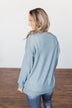 Another Day Long Sleeve Knit Sweater- Blue