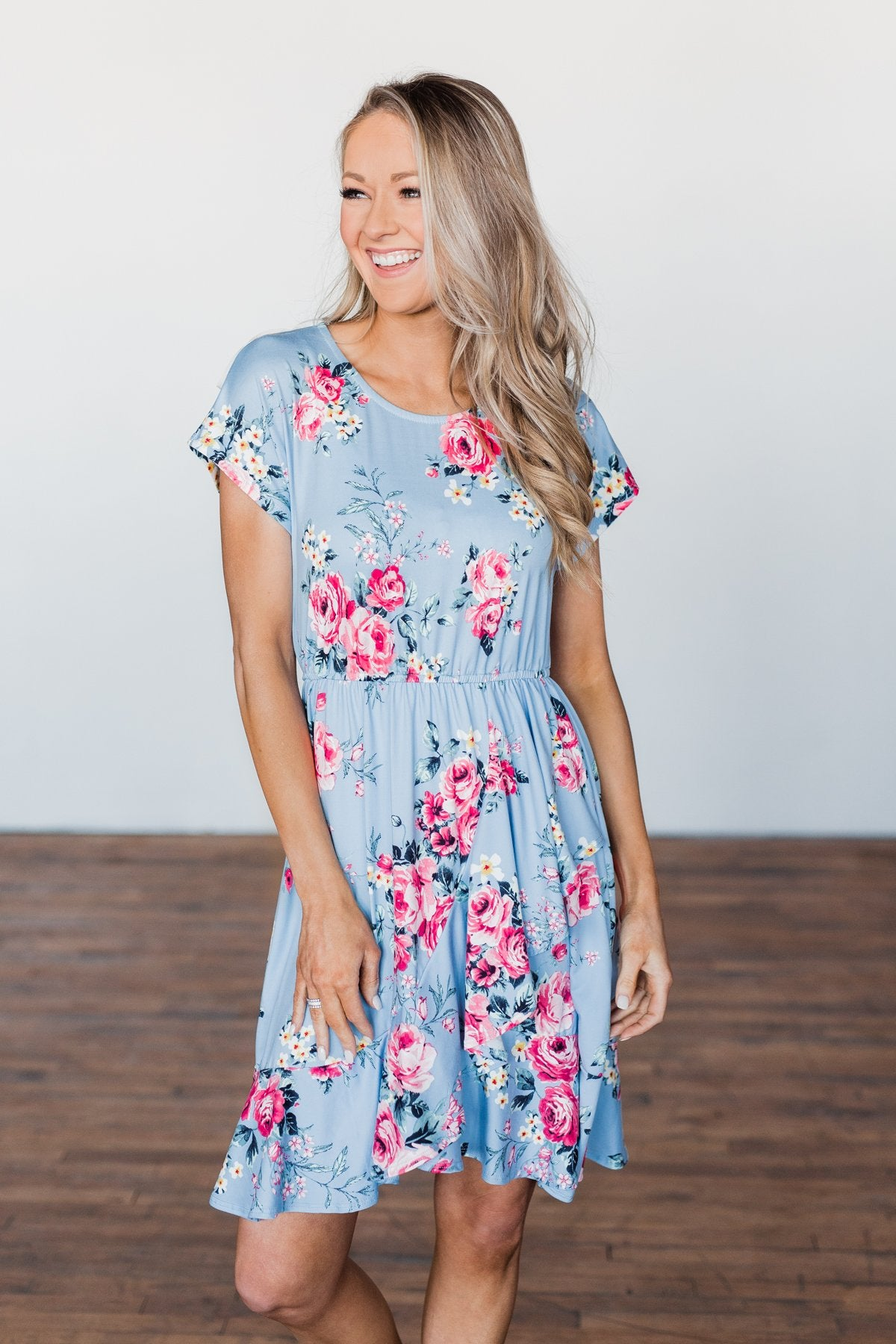 Enchanted Gardens Floral & Ruffle Dress- Baby Blue