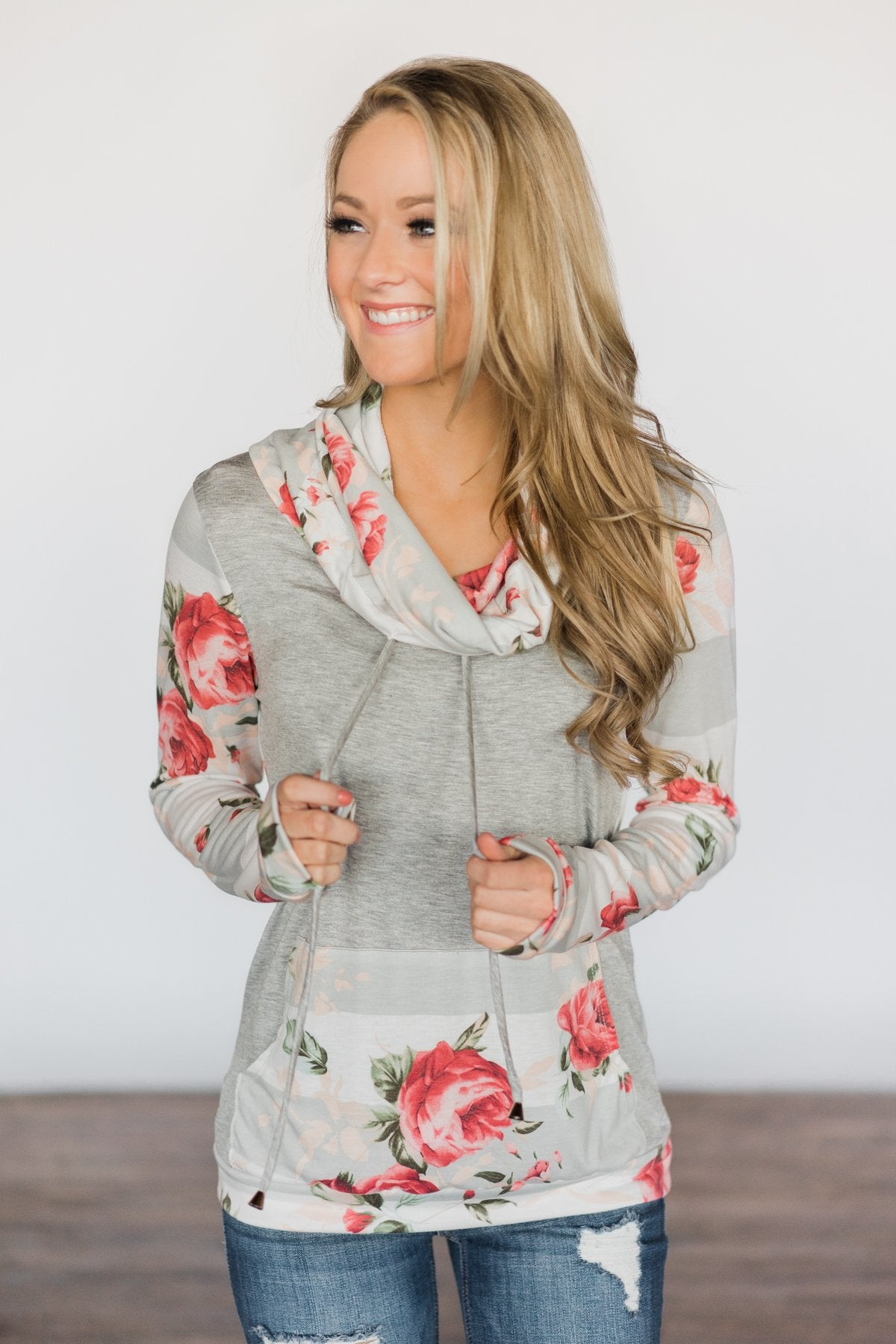 Flowers & You ~ Grey Striped & Floral Cowl Neck Top