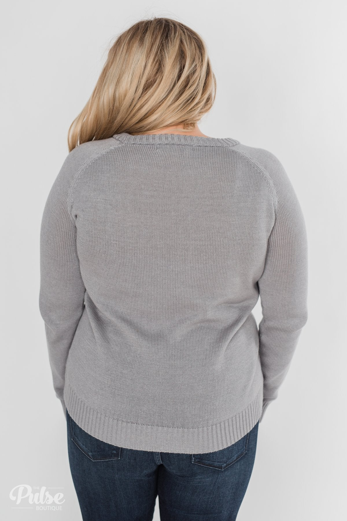 Follow Your Heart Knitted Sweater- Grey