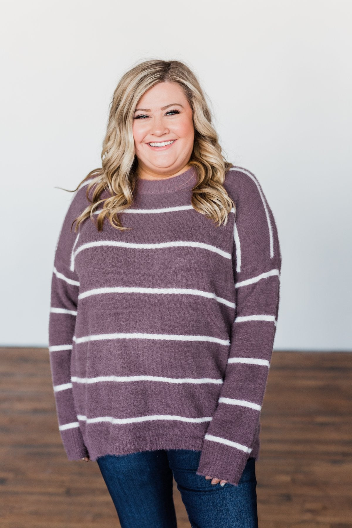 Waste My Time Striped Sweater- Antique Mauve