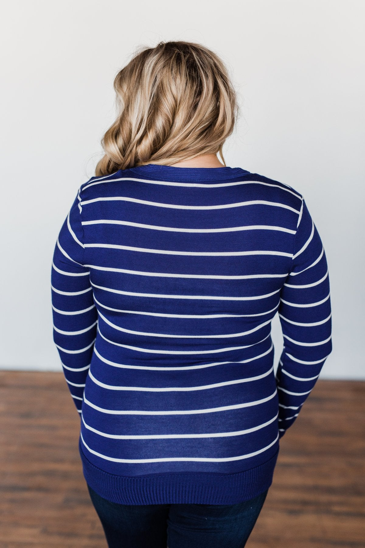 Everyday Striped Button Cardigan- Royal Blue & Ivory