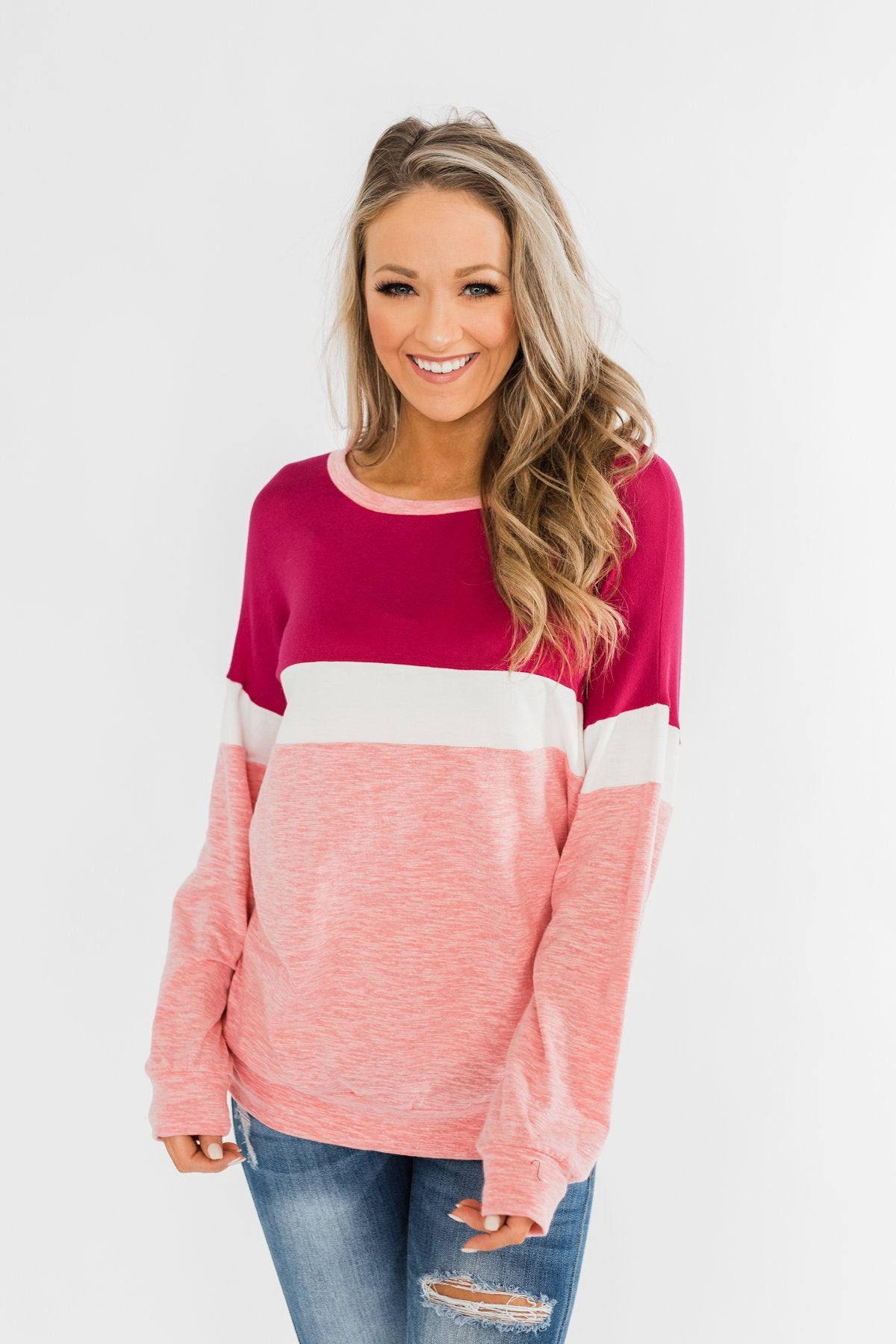 Love All Around Color Block Top- Magenta, Pink, & Ivory