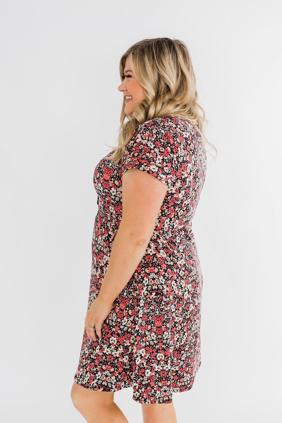Just Say Yes Floral Button Dress- Black & Pink