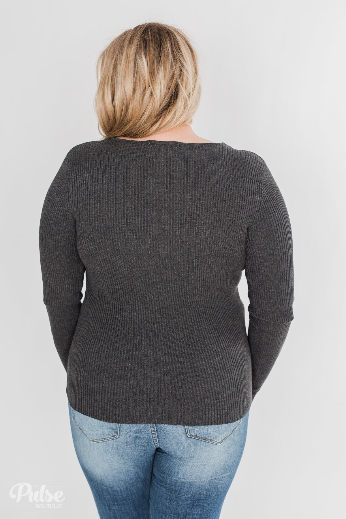 Fitted V-Neck Long Sleeve Top - Charcoal