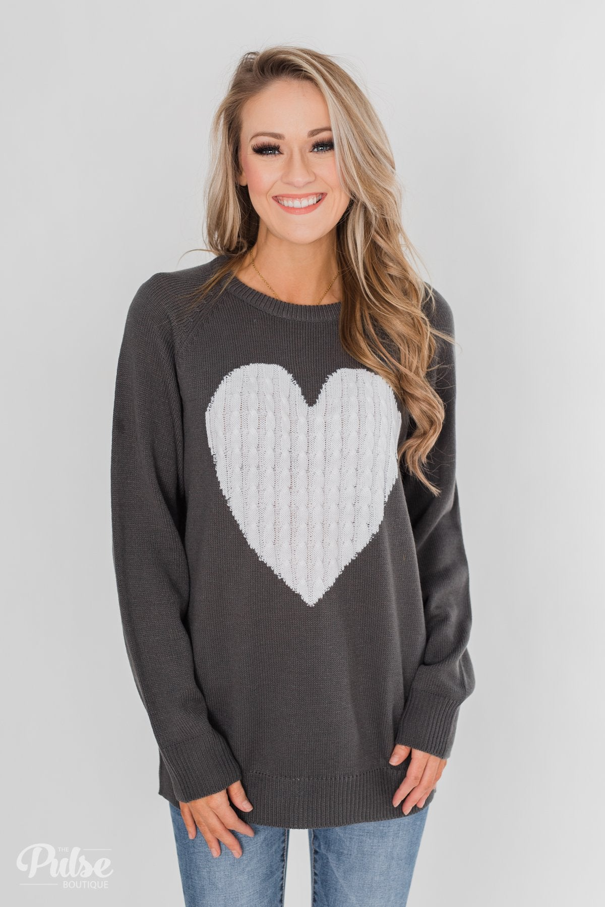 Love Your Life Knitted Heart Sweater - Charcoal