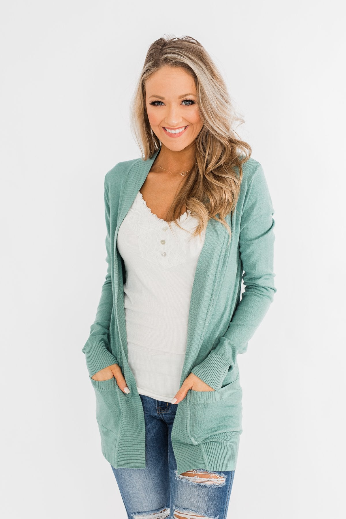 Light Weight Open Front Cardigan- Antique Teal
