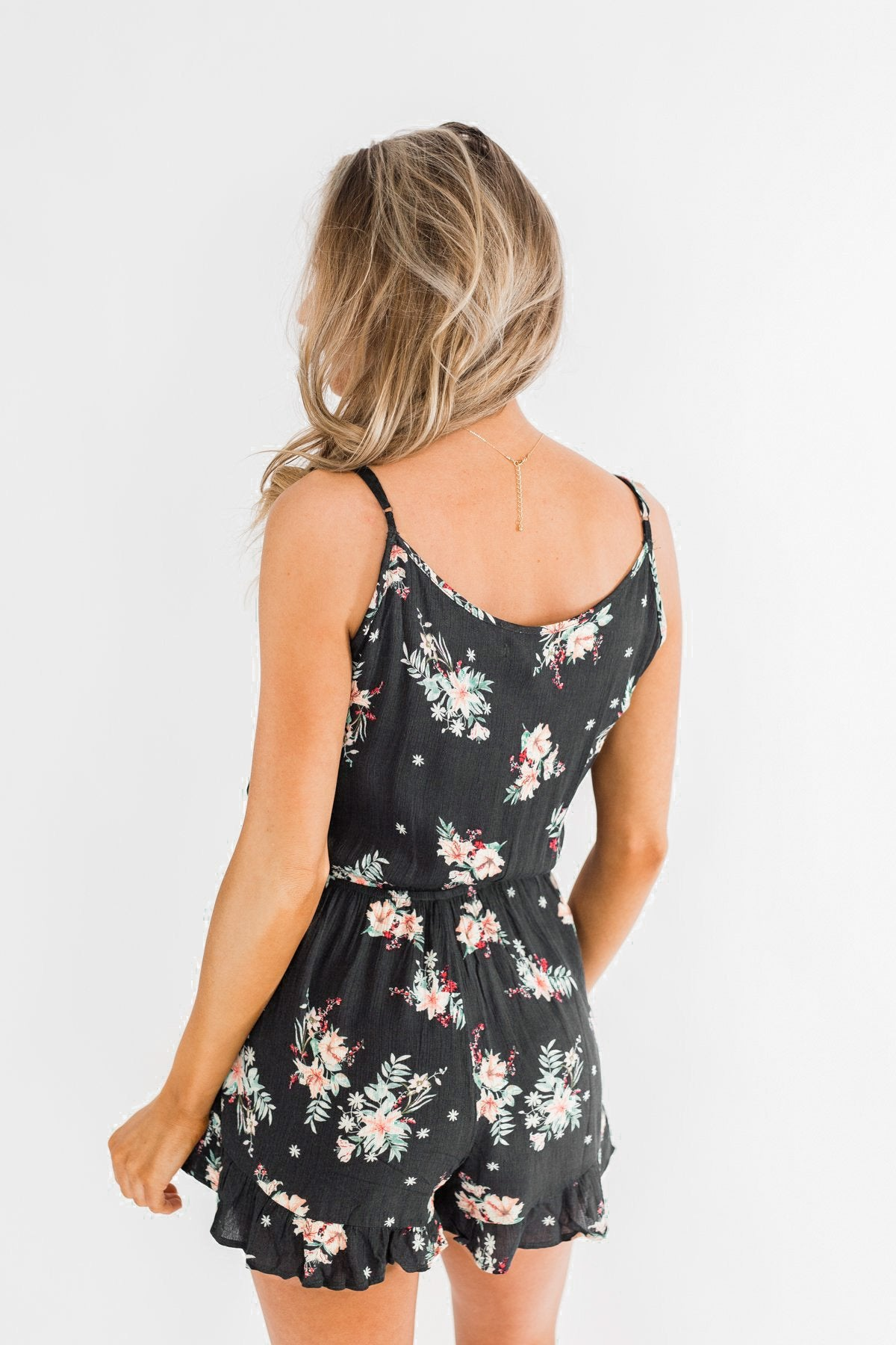 Care For You Floral Wrap Romper- Charcoal