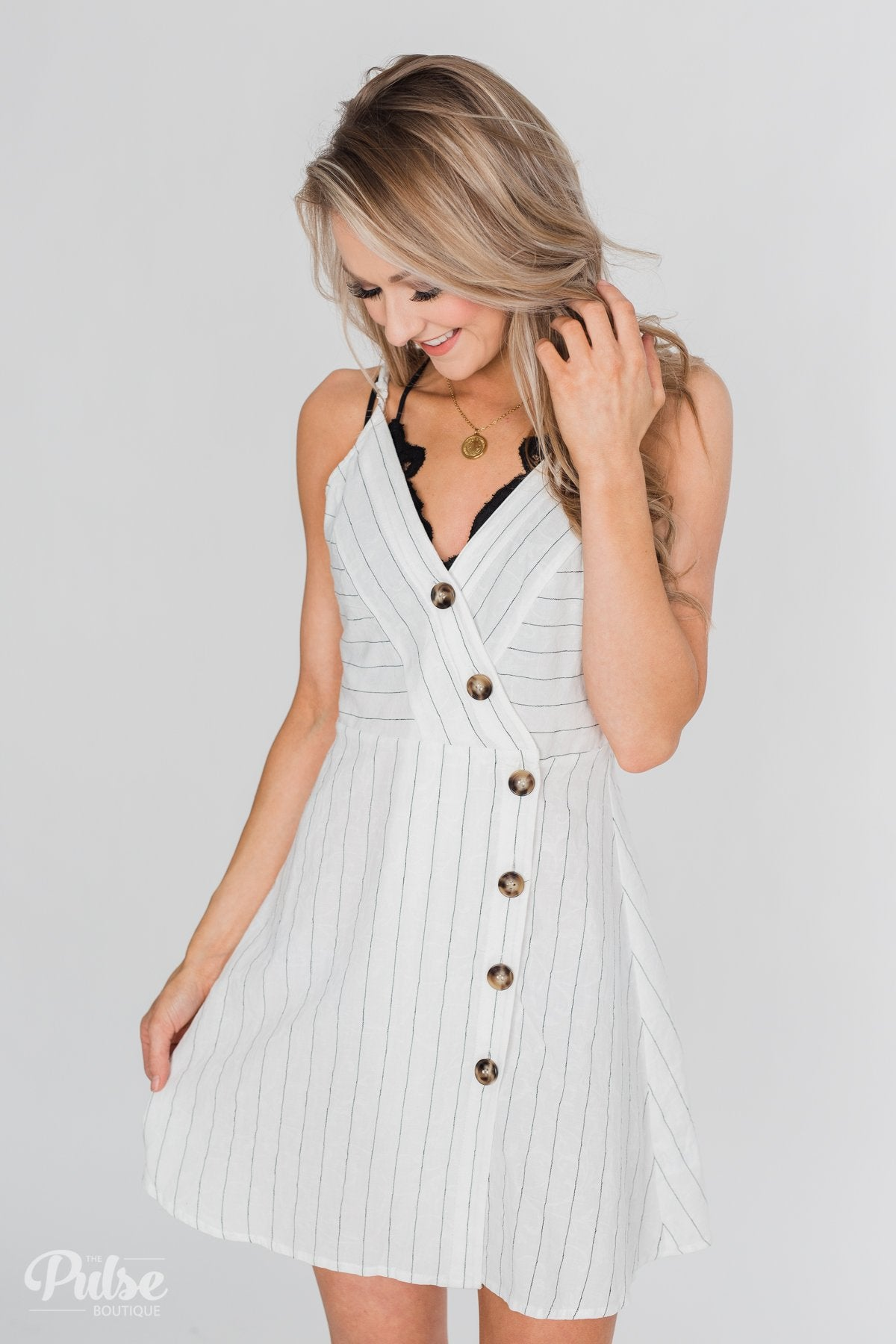 Seamless Spaghetti Strap Dress- White