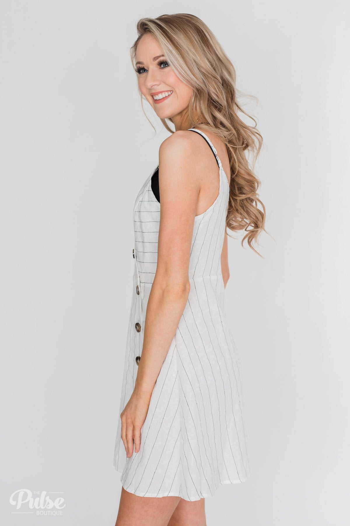 V-Neck Striped Button Dress- White