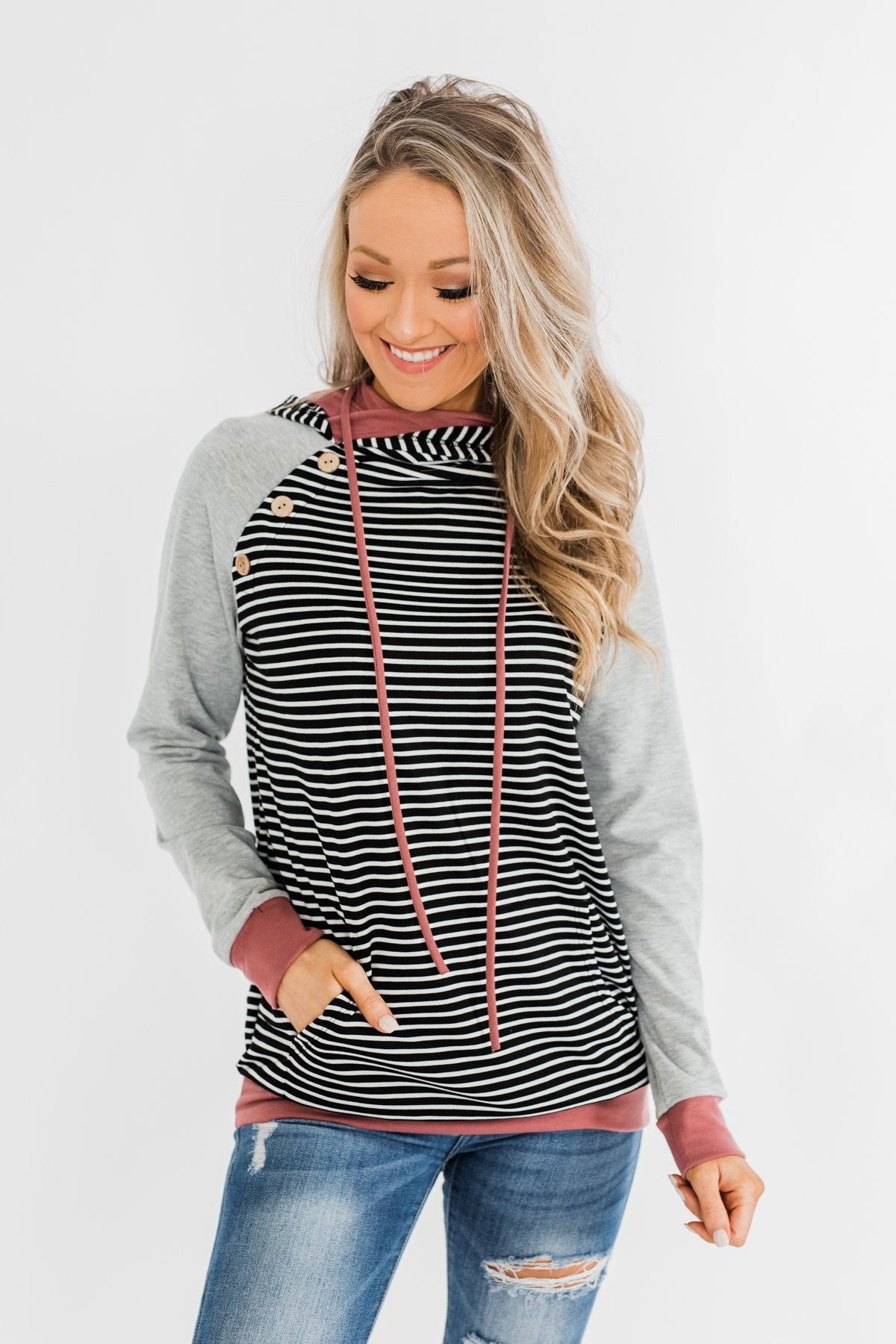 Hand In Hand Striped Double Hoodie- Grey & Mauve