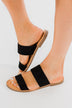 Soda Allie Slip On Sandals- Black