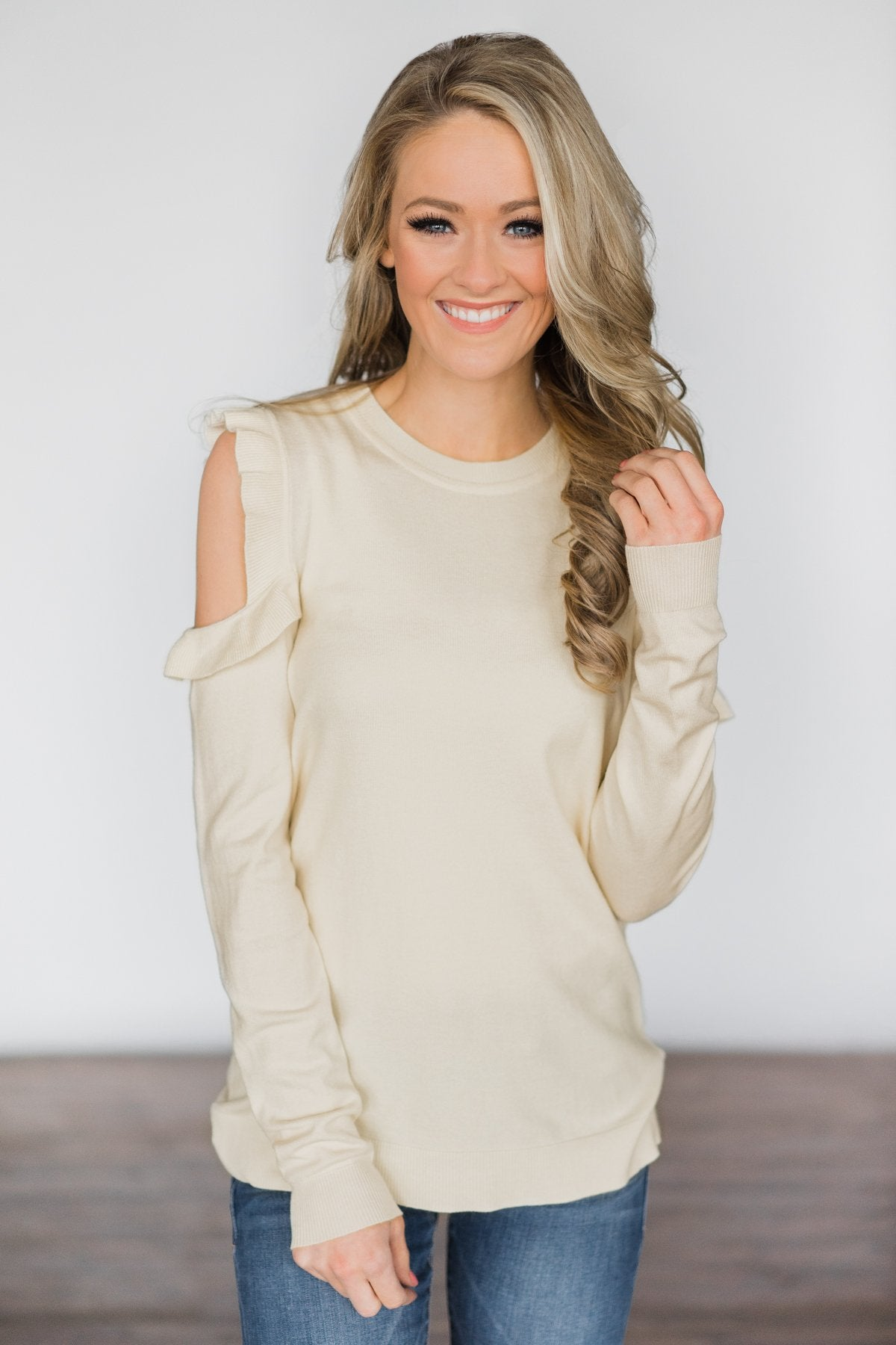 All Ruffled Up Cream Cold Shoulder Top