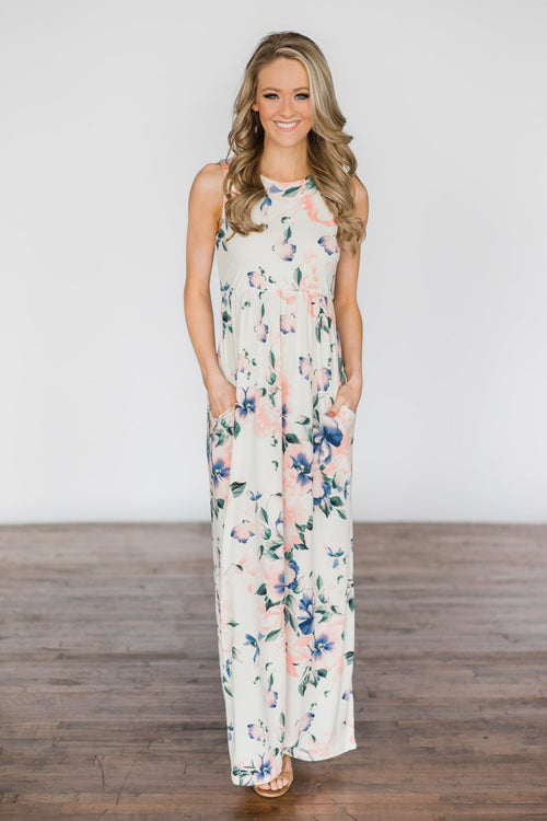 Real Paradise Ivory Floral Maxi Dress