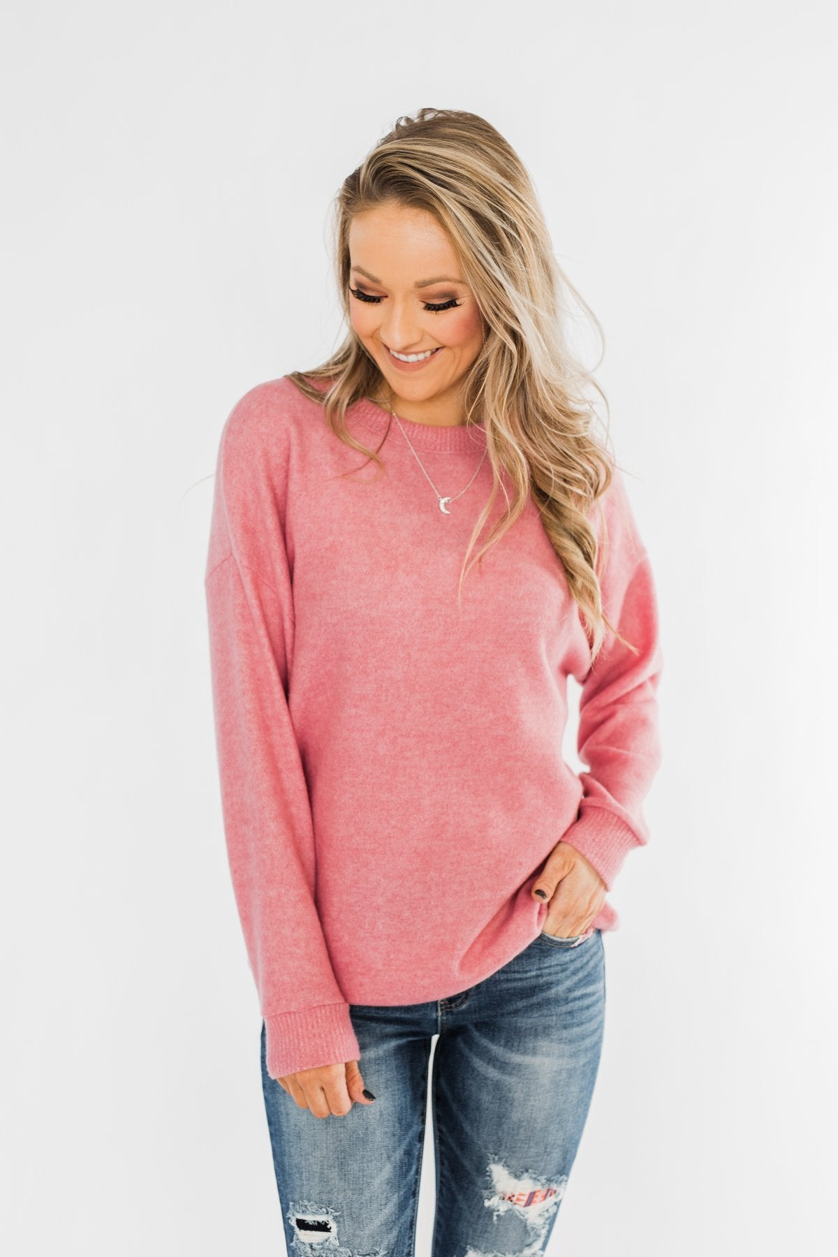 Another Day Long Sleeve Knit Sweater- Pink