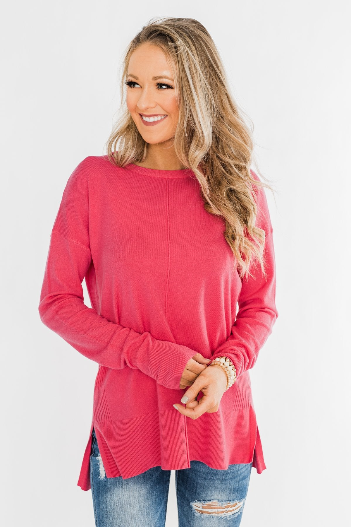 Ready For Anything Knit Sweater- Pink