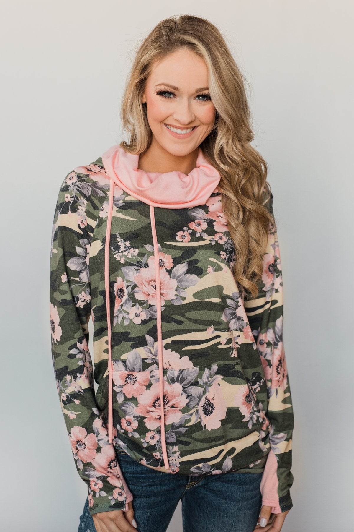 Found By You Camo & Floral Hoodie - Blush