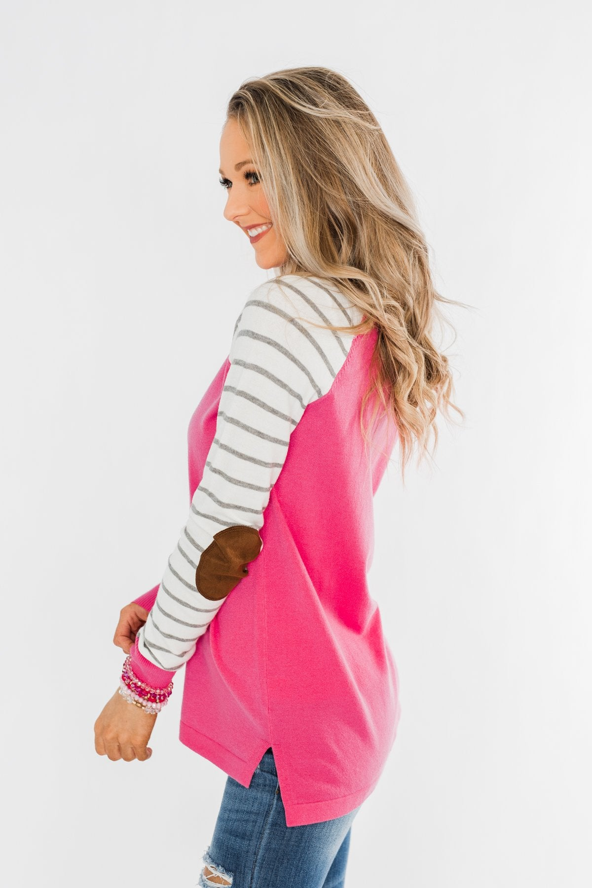 Loving Life Striped Sweater- Bubblegum Pink & Ivory