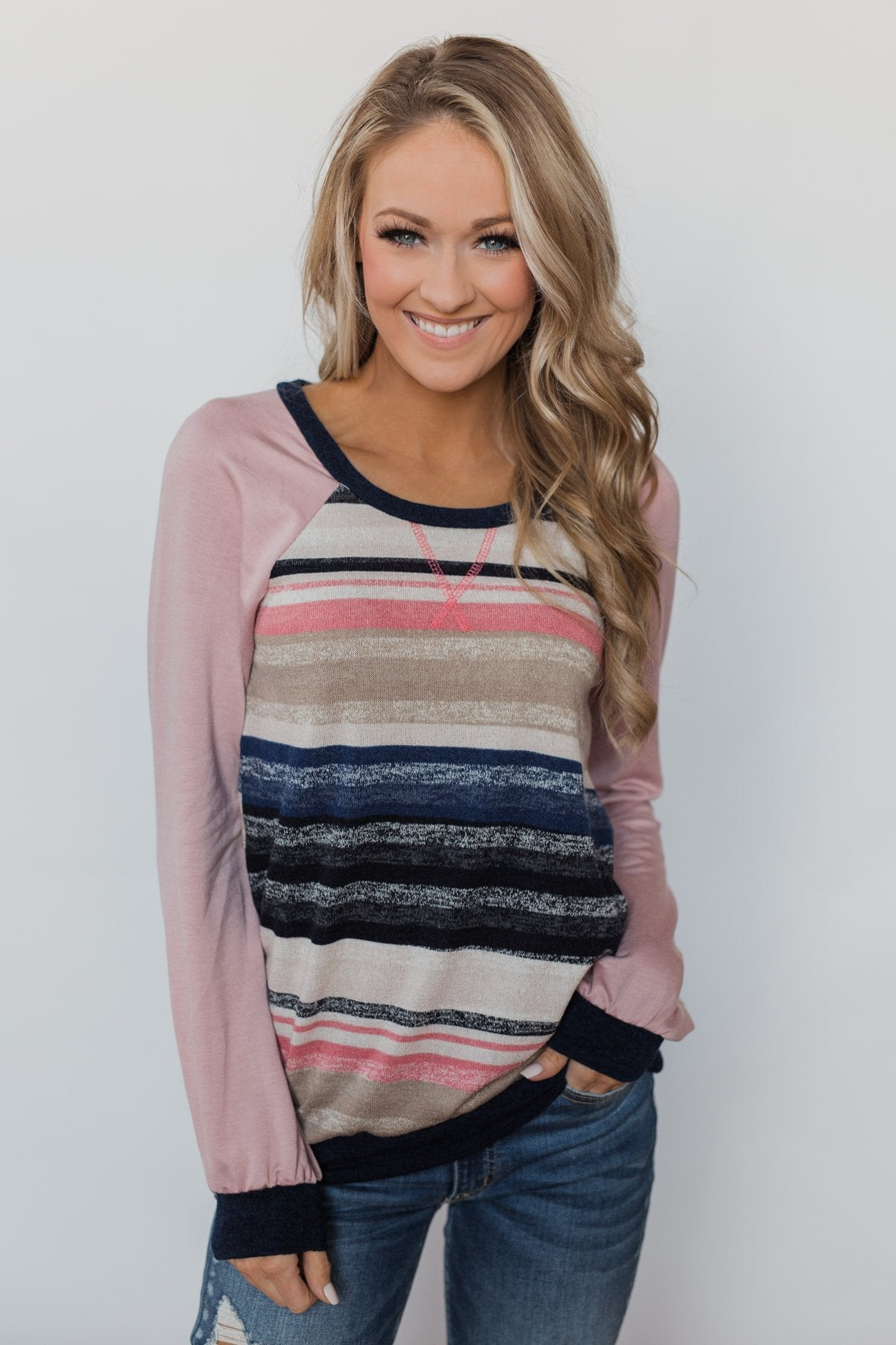 Love Always Long Sleeve Pullover - Mauve & Navy